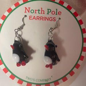 Glass blown penguin earrings by twos company